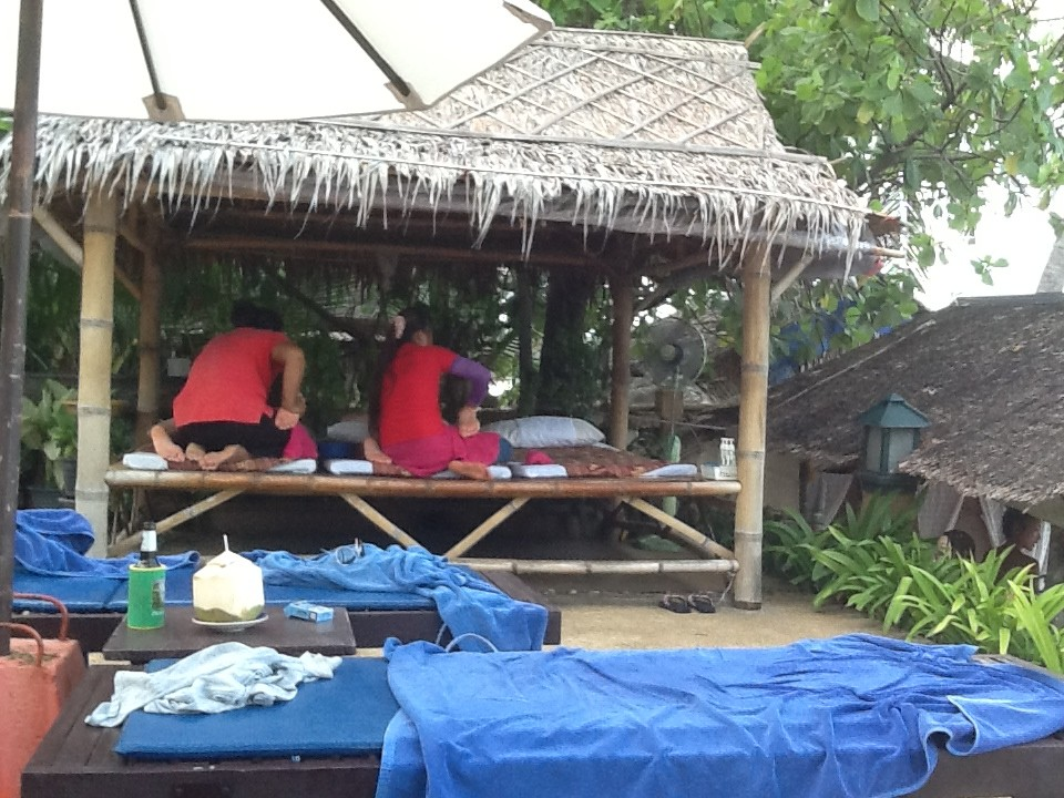 Massage Hut on Lawana Pool Deck, Ko Samui. Such places seem to be everywhere in Thailand.