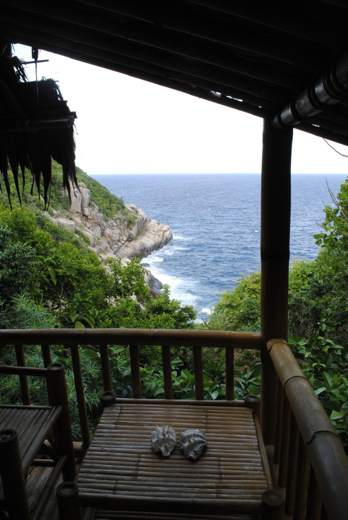 View from the front porch. The entire bungalow was made of bamboo.