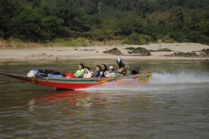 Speed boat on the Mekong River.