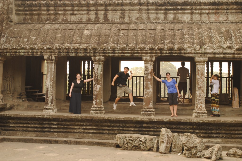 Having fun inside Angkor Wat