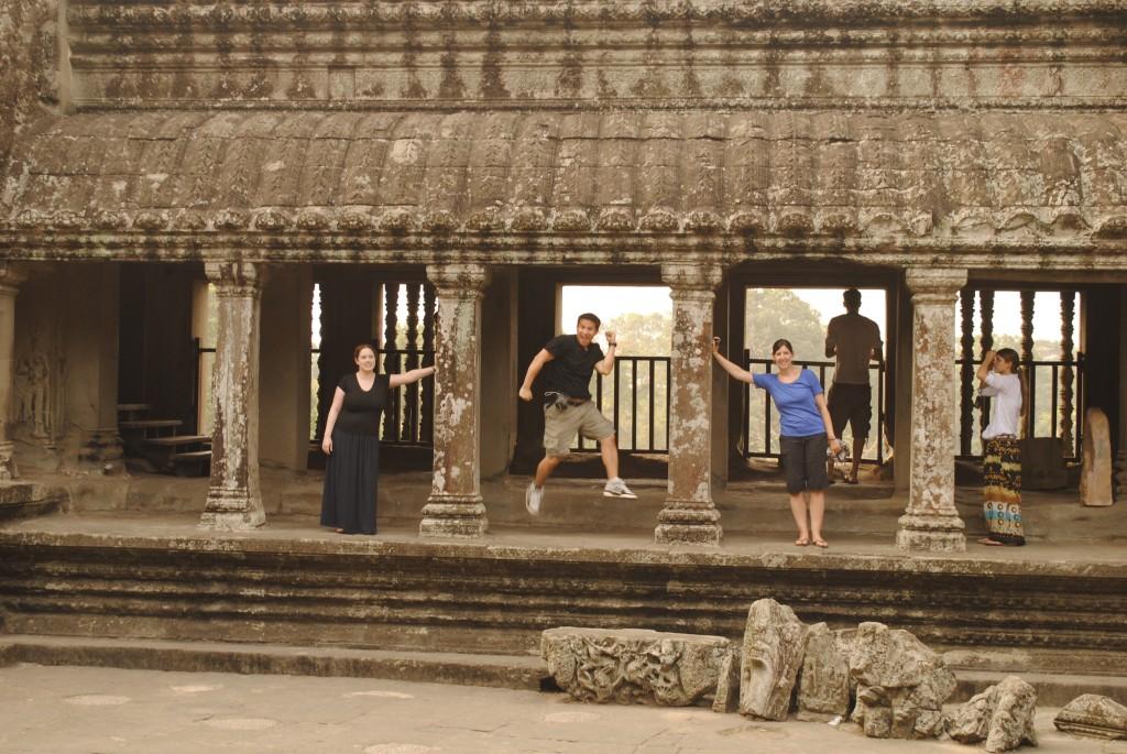 Having fun inside Angkor Wat