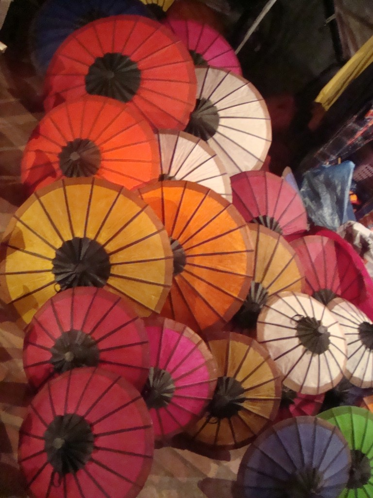 umbrellas for sale in the night market