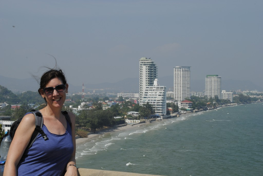 Lori from Chopstick Mountain with a view of Hua Hin in the background. Very windy, Hua Hin is also becoming known as a kite boarding center.