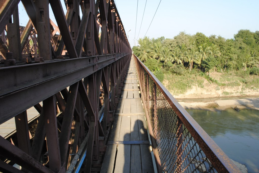 This is the pedestrian walkway on either side of the bridge. The boards weren't all nailed down or even, so there was a lot of banging around when you walked. And, it was pretty high over the water below. It was mostly fine during the day, and pretty terrifying at night.
