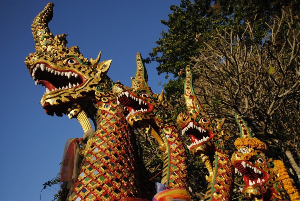 These dragons were at the base of the 309 steps leading up to the temple.