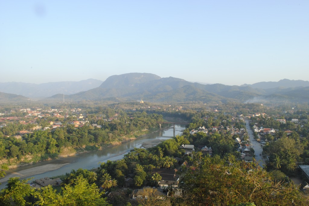 View of the Mekong from Mount Phou Si in the center of LP