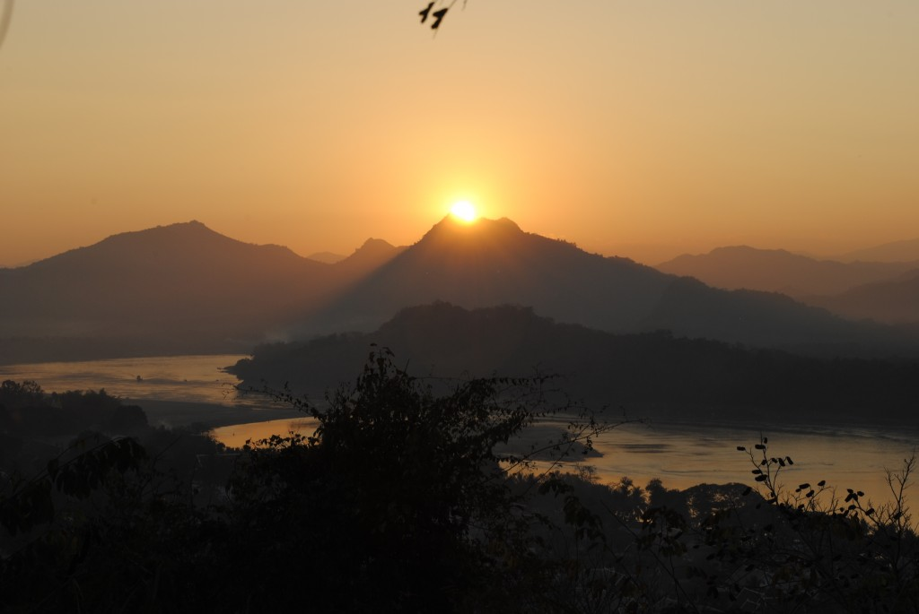 Sunset from the city over the Mekong