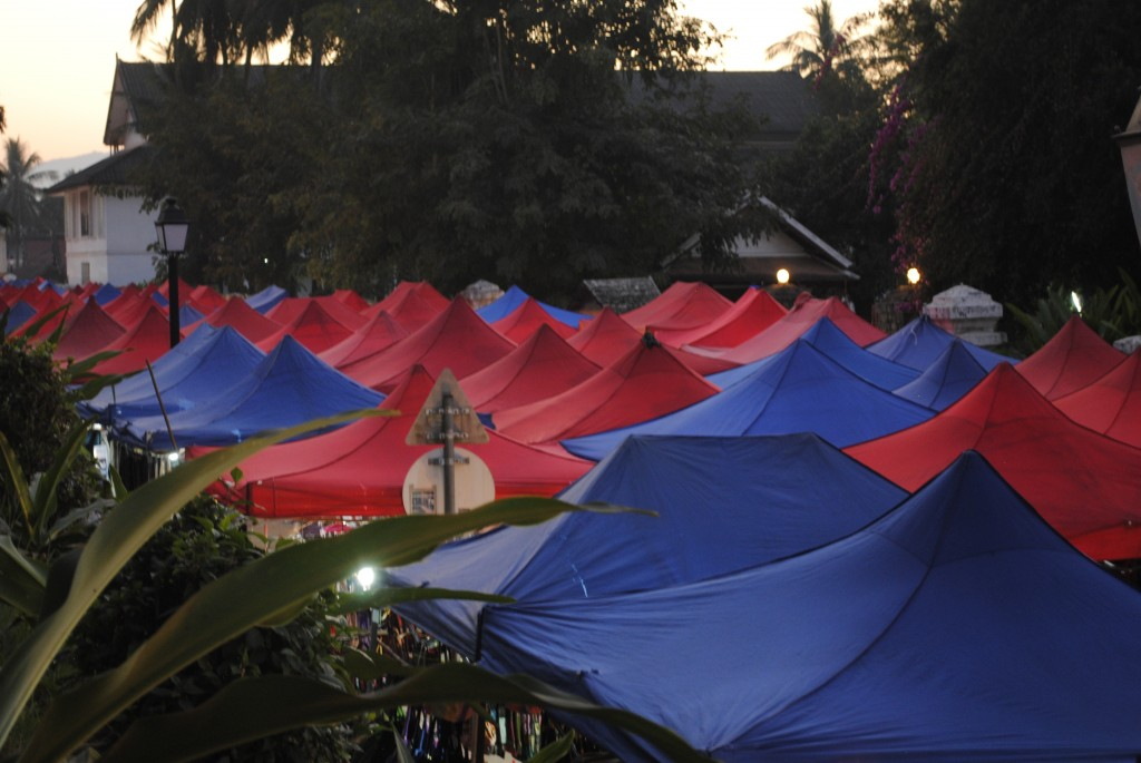 Top of the tents making up the night market. The center piece of the town every night and a great market for shopping!