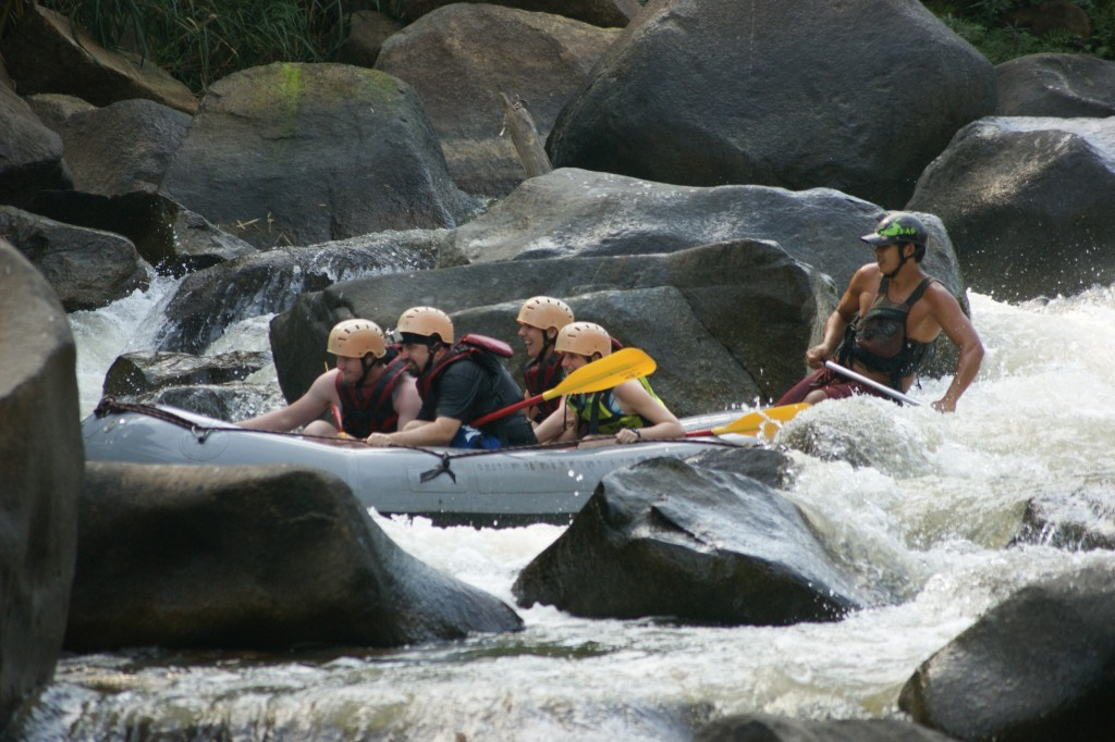 Preparing to go over some rapids