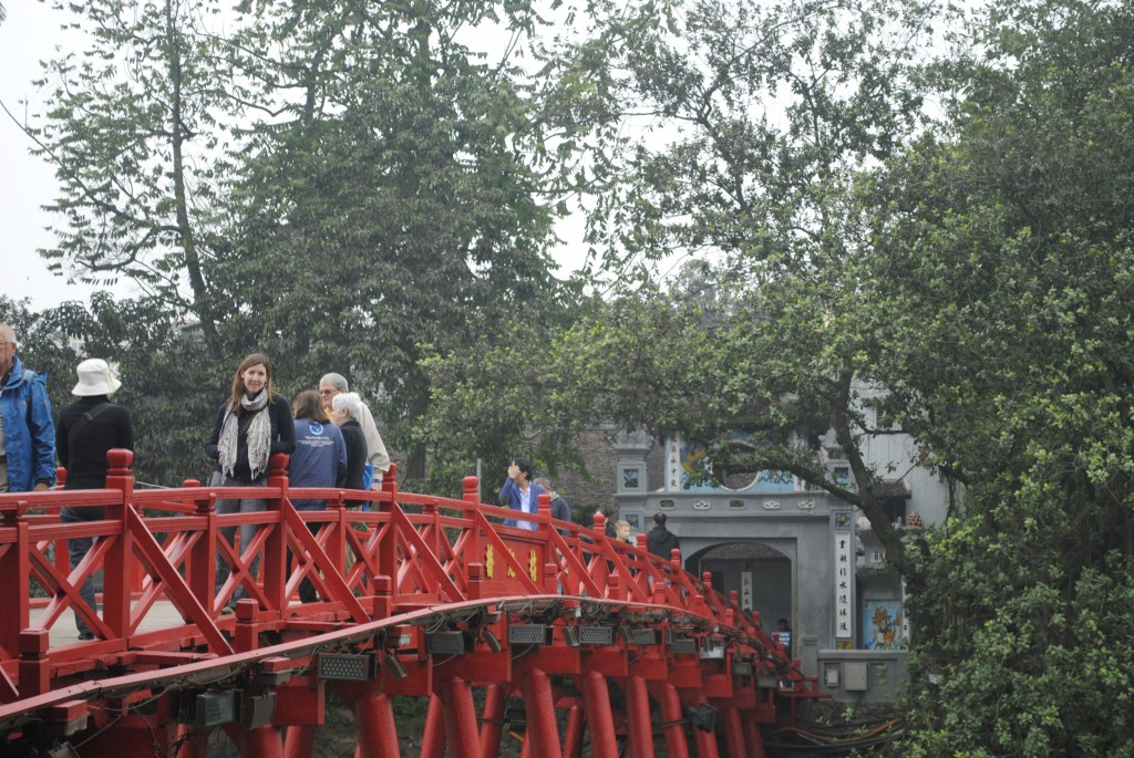 Huc Bridge to Jade Island in the middle of Hoan Kiem lake.