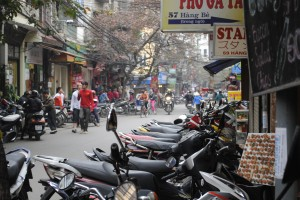 All of the motorbikes get parked on the sidewalks, which makes walking on them a bit more challenging.