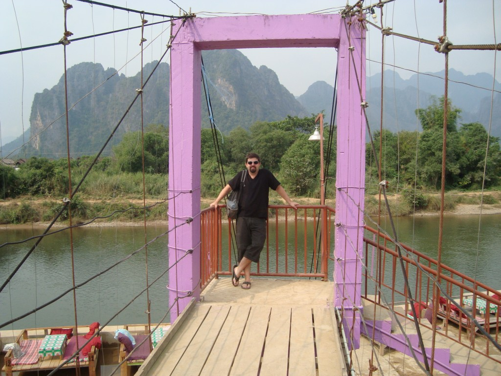 One of the bridges on the Nam Song river crossing over to a small island that had a few bungalows/guest houses