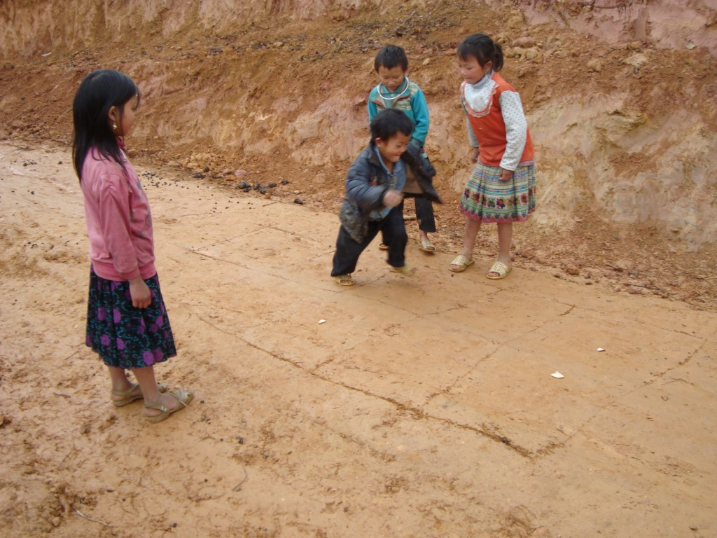 hill tribe kids playing hopskotch