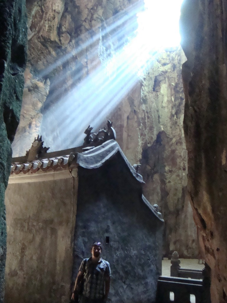 This large cave with a hole in the top had several shrines and even a little structure built into it.