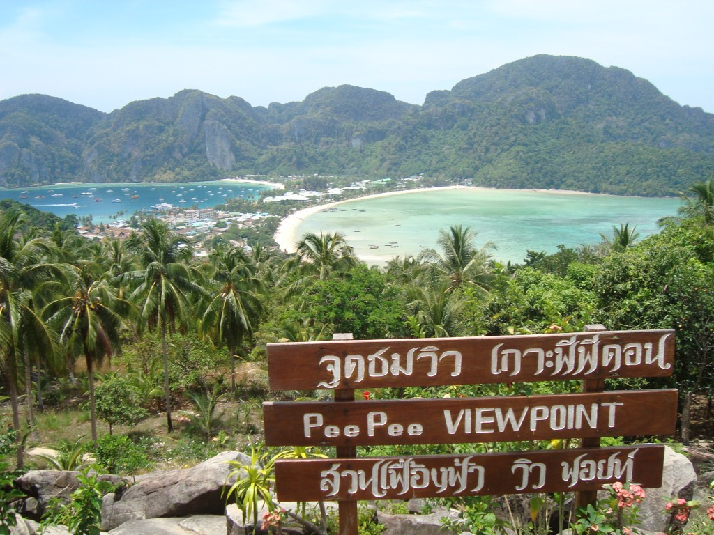 View of the center strip of land connecting two beaches on Phi Phi Don (yes, it is pronounced 'pee pee'). It was sweltering hot and we were carrying our packs around for the overnight boat trip. John and I had a difference of opinion over whether or not to take the 1/2 hour, uphill hike to the viewpoint in the noontime heat with our bags. We compromised and John had a beer (or two) and watched the bags while I did the hike. It was a tough hike in the heat, and I don't think I would've made it to the top with my bag, so I was relieved that John didn't want to do it in the end. It all worked out and the hike was well worth it for the views.