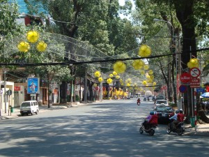 Street view of HCMC during Tet.