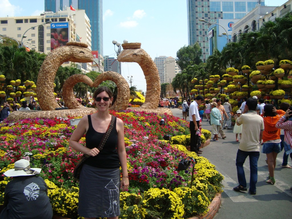 One of the many flower and snake displays for Tet (2013 is the year of the snake).