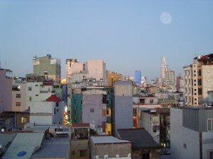 View of HCMC from our balcony at dusk.