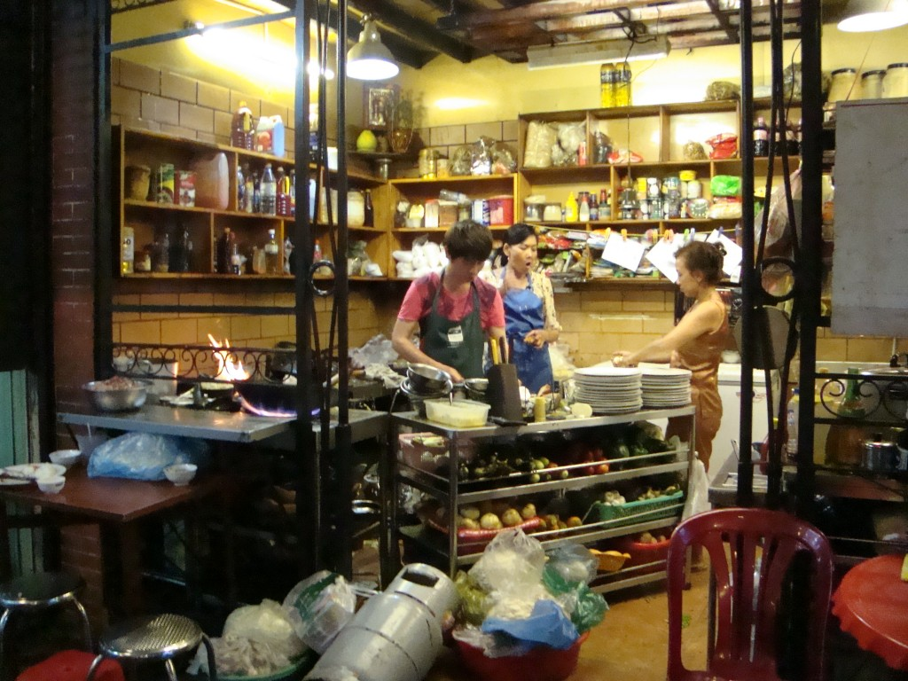 One of the restaurants we visited had an open kitchen across the alley from the front door.