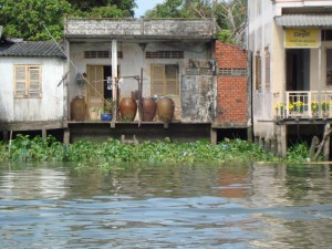 Taking a boat through the Mekong Delta