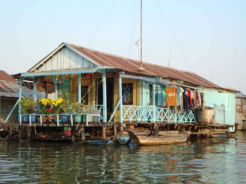 House in a floating village on the Mekong.