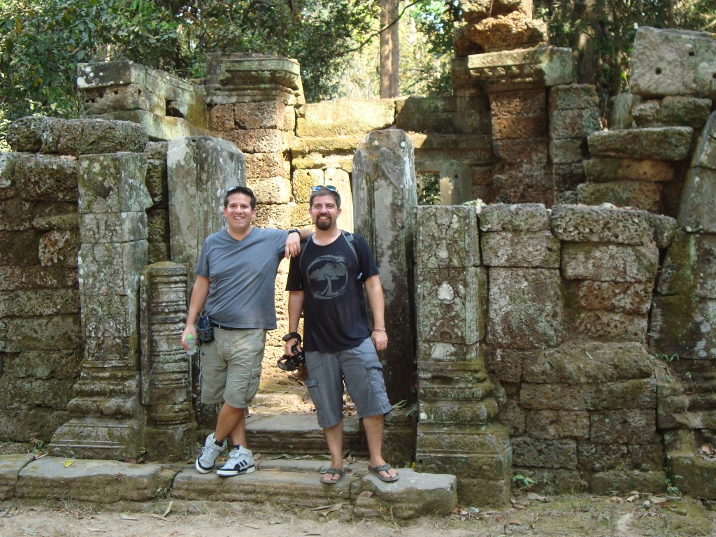 Alex and John in one of the various temples on the first day.