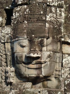 One of the many Buddha faces at Bayon.
