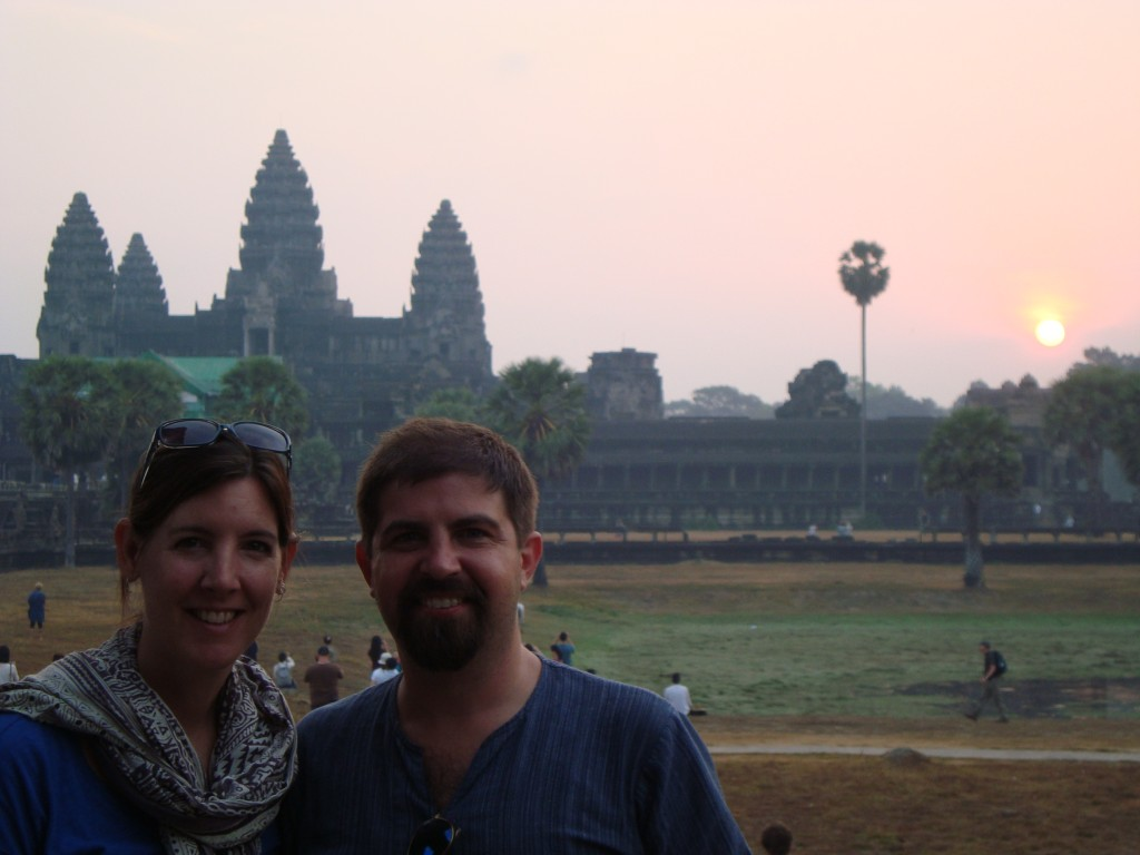 Sunrise over Angkor Wat; we watched from the ruins of  library to avoid some of the crowds.