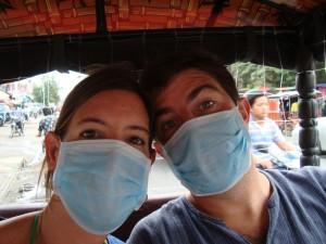 Our tuk tuk driver to the Killing Fields and the prison gave us these masks to wear because the drive was so dusty.