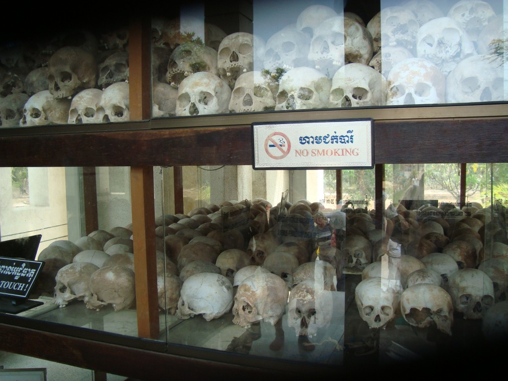 There are 7 levels in the memorial stuppa, each filled  with skulls, bones, and clothing from the victims.