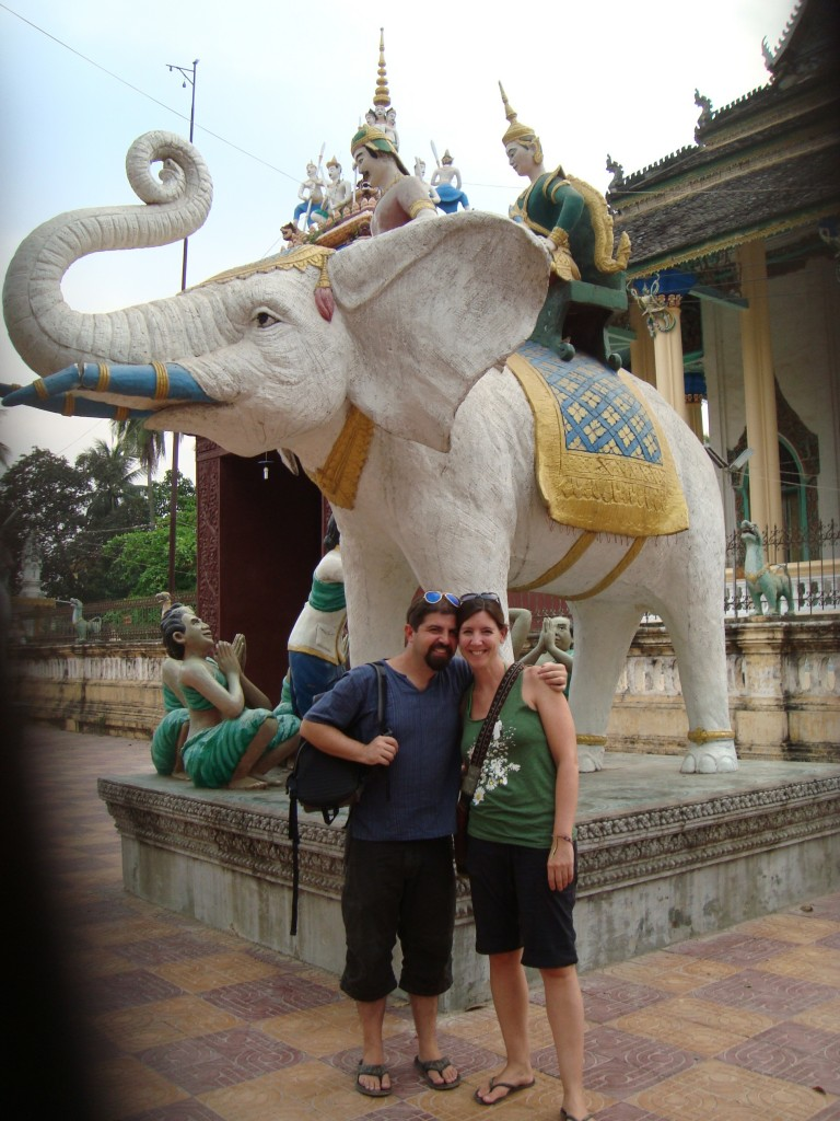 Our guide insisted on taking our photo in front of this white elephant, though we didn't really understand  the significance.