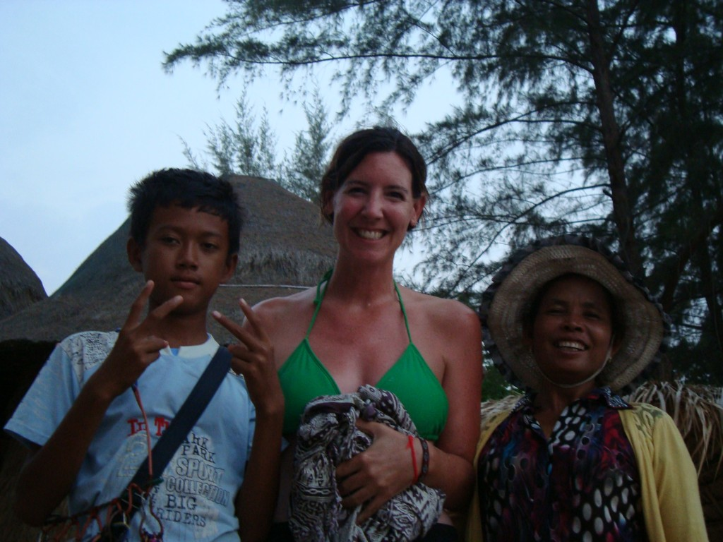 This little boy is the brother of the boy on the phone, and Coca is the woman on the right. She gave the best massages I had in all of SE Asia, and during our two weeks at Otres I set up a routine where she met me every other day at sunset for a one hour massage (for $6).