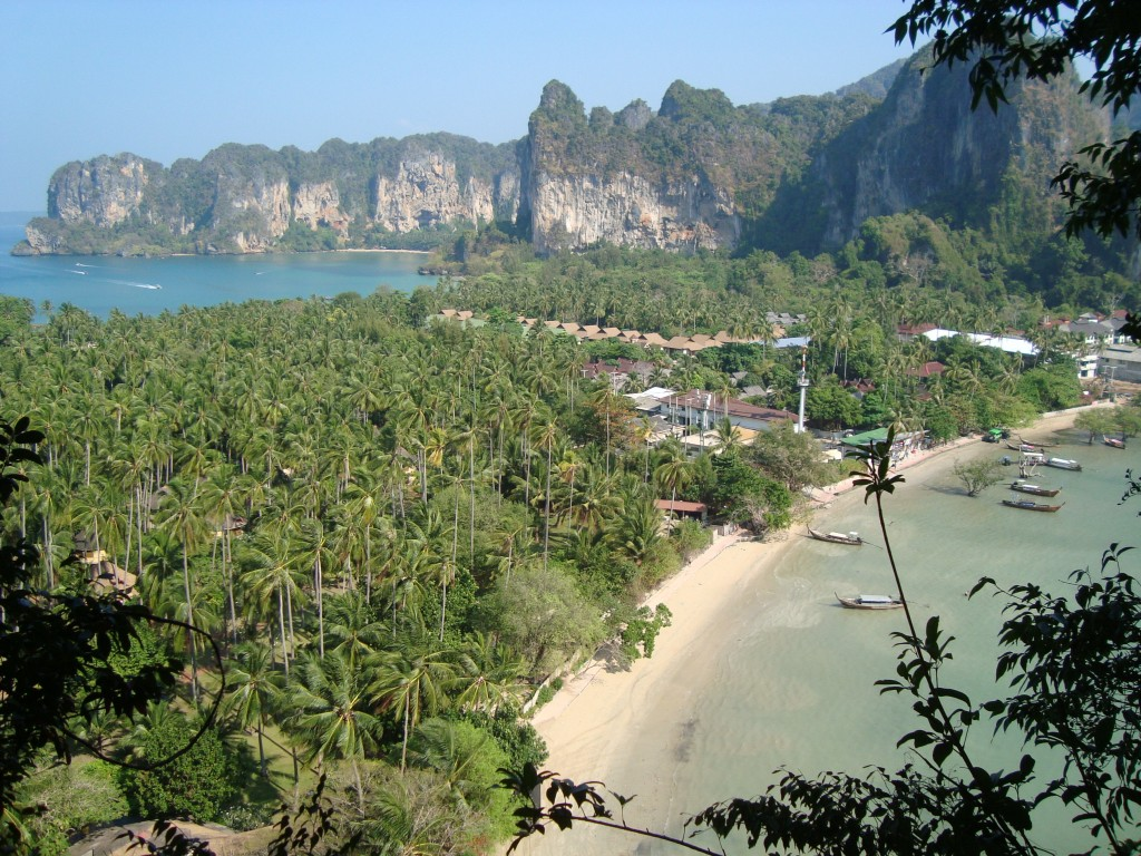 View from the top Phra Nang Beach hike, where you can see both Railey East and West beaches.