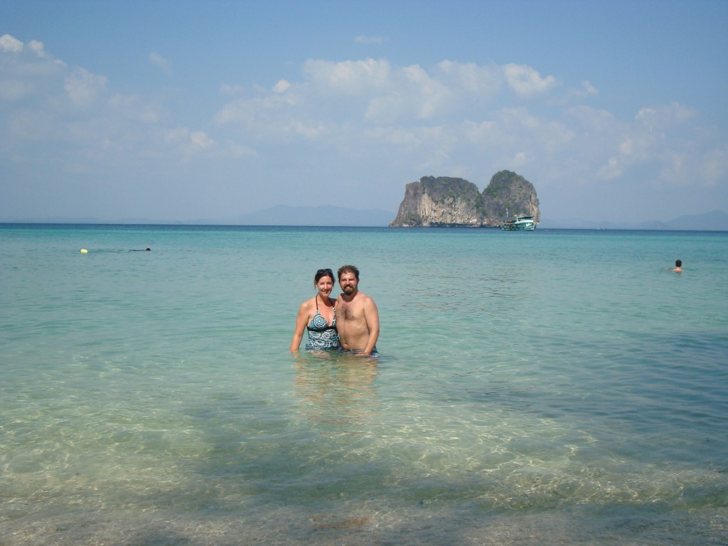 Swimming on scenic Ko Ngai during the four islands tour.